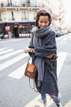 Winter style, grey coat, big scarf, fashion