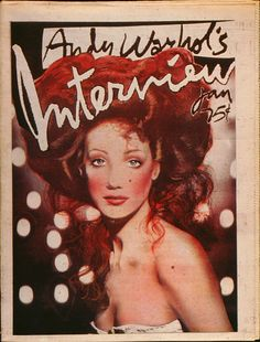 Intimate conversations between the world's most creative people in the magazine founded in 1969 by artist Andy Warhol. Fashion Magazine Cover, Magazine Covers, 80s Album Covers, Female Reference, Andy Warhol, After Dark, Movie Stars, Interview, Celebrity Caricatures