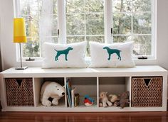 Ikea Expedit shelf as window seat - upstairs?