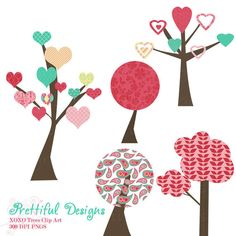 20 off SALE Valentine Tree Clip Art for by PrettifulDesigns, $2.40