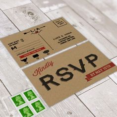 Custom design rustic themed RSVP postcard.  Created by www.invitedto.co.uk