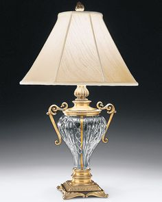 cut crystal lamp with urn; home lighting