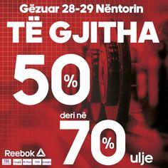 Mirëmëngjes miq, Me rastin e festave të 28-29 Nëntorit, në dyqanet tona Reebok do të gjeni të gjitha produktet me 50% deri në 70% ulje. Duke filluar që nesër :) #ReebokTEG #ReebokCitypark #ReebokM_Shyri_përballë_Vodafone