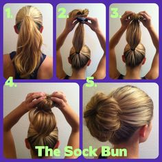 The sock bun! Kim Kardashians 'infamous' look. cheap to do as you can use one of your own socks. cut off the toes part and roll it up! the follow these instructions. yay :)