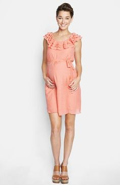 This is cute but probably way too short Maternal America Ruffled Maternity Dress | Nordstrom