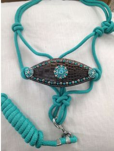 Turquoise Bronc halter with alligator noseband and crystals/ conchos