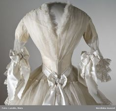 Wedding dress, Swedish, 1854. Worn by Svea Beata Myhrman for her wedding on August 19th 1854.