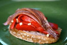 Pintxo of Anchovies with Baked red Pepper - Chef Antonio Ortuno Tostadas, Spanish Food, Holiday Tables, Canapes, Antipasto, Red Peppers, Chorizo, French Toast, Sandwiches
