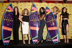 (L-R) Singers Lauren Jauregui, Ally Brooke Hernandez, Normani Kordei, Dinah Jane Hansen and Camila Cabello of Fifth Harmony, winners of the Choice Music Group: Female award, pose in the press room during the Teen Choice Awards 2015 at the USC Galen Center on August 16, 2015 in Los Angeles, California.