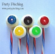 Tasty Olympic Rings blue food, foods, candi, summer parties, sweet treats, food coloring, cake pops, marshmallow pop, life saver