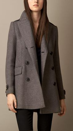 Oversize Pea Coat with Leather Undercollar | Burberry