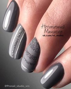 45 latest nail designs for winter 2018 - today pin - Handarbeiten - Nageldesign Latest Nail Designs, Fall Nail Designs, Pedicure Designs, Fun Nails, Pretty Nails, Grey Nail Art, Grey Gel Nails, Grey Art, Grey Acrylic Nails