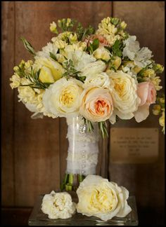 Vintage bouquet of Cabbage Roses, Stock, Herbs in pale yellows, creams an peach   reception wedding flowers,  wedding decor, wedding flower centerpiece, wedding flower arrangement, add pic source on comment and we will update it. www.myfloweraffair.com can create this beautiful wedding flower look.
