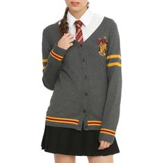 WB Harry Potter Gryffindor Girls Cardigan (1.025 UYU) ❤ liked on Polyvore featuring tops, cardigans, harry potter, gryffindor, gold top, light gray cardigan, red striped cardigan, button front top and warner bros.