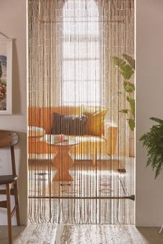 """Bamboo beaded curtain that adds boho charm to a window, entry way, closet, between bed posts + more! Choose from a hand-painted or natural finish. Content + Care. Bamboo, wood Wipe clean Imported Size. Dimensions: 35"""" w x 79"""" l Beaded Curtains Doorway, Bamboo Beaded Curtains, Doorway Curtain, Closet Curtains, Drapes Curtains, Bead Curtains For Doors, Curtains For Kitchen, Cortina Boho, Porta Diy"""