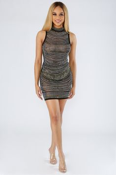 ee5cd04634a8 Stud Out Rhinestone Bodycon Dress – featuring allover studded rhinestone  design, mock neck, sleeveless. KNOWSTYLE