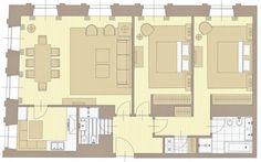 Esta casa tiene dos dormitorios, una cocina, dos cuartos de baño y un salon con una mesa para comer. Es un piso luminoso, moderno, amplio y espacioso; està bien comunicado.