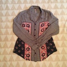 Free People Bandana Print Chambray Buttondown Free People Bandana Print Chambray Buttondown. 100% Cotton. Some wear on inside, left cuff but not visible when on. Free People Tops Button Down Shirts