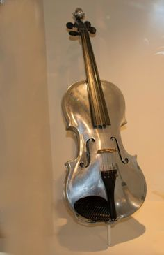 Aluminum violin from 1934.  Made by the ALCOA company. They did not get widespread use by musicians as they preferred wooden violins
