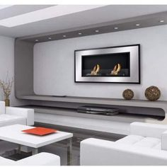 Bellezza Wall Mounted / Recessed Ventless Ethanol Fireplace