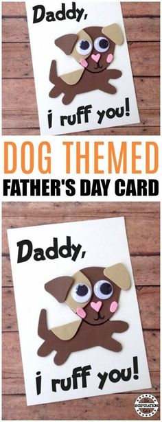 DIY Fathers Day Card - Dog Craft, Kids Craft Idea, Fathers Day Crafts, Download the template to make your own Dog Themed Card today! #fathersday #fathersdaycrafts #fathersdaycard #cardmaking #preschool #toddler #freeprintable #kidscrafts