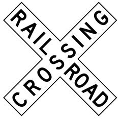 The sign seen at railroad crossings with two diagonal arms, one arm bearing the word ' Railroad', the other arm the word ' Crossing. Description from turbonos.com. I searched for this on bing.com/images