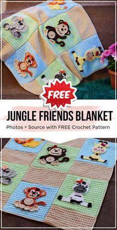 crochet Jungle Friends Baby Blanket free pattern - easy crochet baby-blanket pattern for begi. crochet Jungle Friends Baby Blanket free pattern – easy crochet baby-blanket pattern for beginner Crochet Applique Patterns Free, Crochet Baby Blanket Free Pattern, Easy Knit Blanket, Knitted Baby Blankets, Handmade Baby Blankets, Crochet For Boys, Easy Crochet, Free Crochet, Baby Knitting