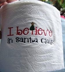 I Believe in Santa Claus 4x4- FREE! | Words and Phrases | Machine Embroidery Designs | SWAKembroidery.com Too Cute Embroidery