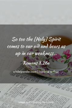 The Spirit comes to our aid and bears us up in our weakness... Romans 8.26a