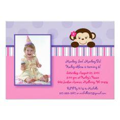 Mod Girl Monkey Photo Birthday Invitations