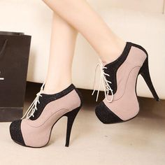 Classic Lace Up Pattern Patchwork High Heels Black & Pink | martofchina.com-Page Cached