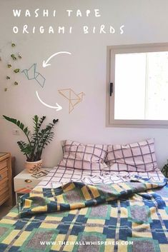 DIY Origami Birds Decoration with Washi Tape, Diy And Crafts, Washi tape can be the great little helper when designing low-budget decorative projects at your home. Check out this simple idea for wall decoration.