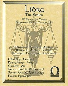 Wicca Libra Zodiac Astrology Sign Book Of Shadows Parchment Page Poster Witch