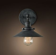 "20th C. Factory sconce...  Rec room bath-basement  24"" left and right of sink center.  25"" from splash."