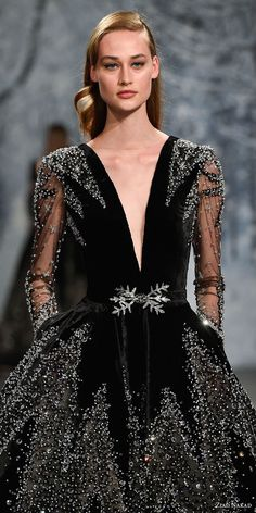 ziad nakad couture fall 2017 long sleeves deep plunging v neck full embellishment elegant glamorous black ball gown a line wedding dress pockets open v back chapel train zv -- Ziad Nakad Couture Fall 2017 Dresses Stunning Wedding Dresses, Designer Wedding Dresses, Beautiful Gowns, Wedding Gowns, Wedding Dress With Pockets, Dress Pockets, Mascarade Outfit, Couture Collection, Couture Fashion