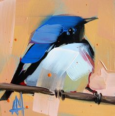 Black throated Blue Warbler original bird oil painting by Angela Moulton