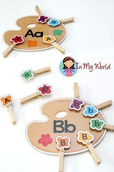 Volver a los centros preescolares en la Escuela - Actividad gratuita alfabeto Clasificación Motricidad fina