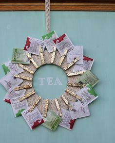DIY Tea Wreath. Once tea is used up it would be great for displaying holiday photos or cards