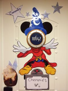 Disney Cruise Door Magnets!   Sorcerer Mickey and Tink! Loved creating this door!❤