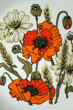 Gentil Coquelicot Mesdames ♫... #Poppies -- J and G Meakin Poppy Plate