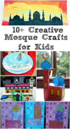 India Crafts - 13 creative mosque crafts for kids. Fun ways to make a mosque model or a mosque picture. Good for Ramadan crafts (geography, homeschool, preschool, kids activities) Holiday Crafts For Kids, Craft Projects For Kids, Crafts For Kids To Make, Art For Kids, Kids Fun, India Crafts, Eid Crafts, Ramadan Crafts, Ramadan Decorations