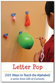 Add a little 'pop' to your letter learning routine with Letter Pop, a fun way to teach the alphabet using balloons! Kids will go crazy for this activity! Spelling Activities, Preschool Learning Activities, Alphabet Activities, Writing Activities, Writing Curriculum, Preschool Kindergarten, Homeschooling, Teaching The Alphabet, Alphabet For Kids