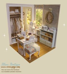 "DIORAMA ""BLANC BOUTIQUE Shop "" Dollhouse Miniature - 1:6 scale - OMG!!!! This is soooooo adorable! I little DRESS SHOP for Dolls!!!"