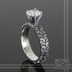 Ladies Cubic Zirconia Tire Tread Engagement Ring By Austin Moore