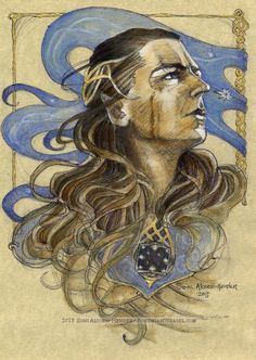 Gil-Galad, finished in ink, oils, and liquid gold on vellum paper. Soni Alcorn-Hender <-- This character, and this artist. Gil Galad, Jrr Tolkien, Liquid Gold, The Elf, Middle Earth, Lord Of The Rings, Lotr, The Hobbit, Creatures