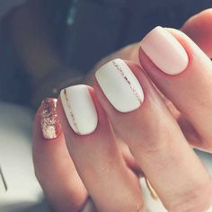 Pink And Rose Gold Glitter Nails. Pink And White Nails. Pink And Rose Gold Glitter Nails. Pink And White Nails. Cute Spring Nails, Spring Nail Art, Nail Designs Spring, White Summer Nails, Pink White Nails, Line Nail Designs, Blush Pink Nails, White Nails With Gold, Pale Pink