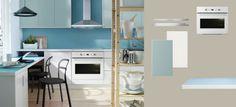 AKURUM kitchen with LIDINGÖ white doors/drawers/glass-doors and PRÄGEL white stone effect countertop