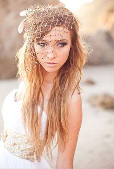 birdcage veil beach wedding style