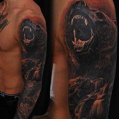 Full sleeve project in process.  Done by @martinssilins1  #tattoo #wildlife #bear #realistictattoo #realism #roaringbear #fullsleeve #blackngrey #waterfall #tattooinriga #getinked #manwithtattoos #riga #latvia #share #like #follow