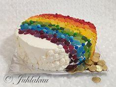 Karkkisateenkaarikakku Birthday Cake, Desserts, Food, Tailgate Desserts, Deserts, Birthday Cakes, Essen, Postres, Meals